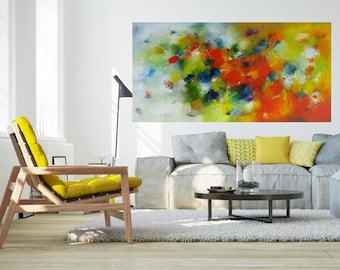 Extra Long narrow wall canvas fine art giclee print, XL abstract wall hanging, happy bright art yellow red green sprint nix Abstract print