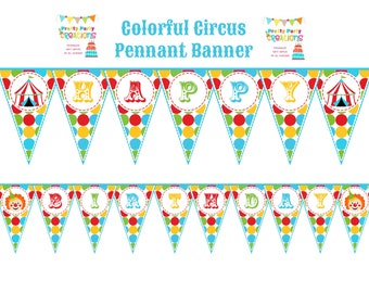 COLORFUL CIRCUS pennant banner - YOU Print - digital file - instant download