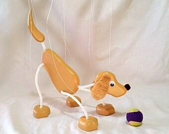 Golden Retriever / Yellow Lab Puppy Marionette - Wood Puppet Pet