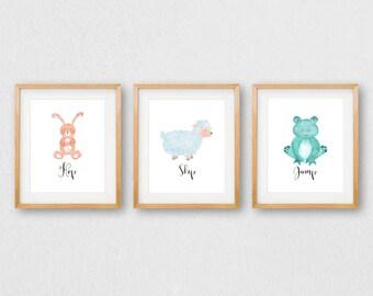 Baby Animal Nursery Wall Art, PRINTABLE Nursery Animals, Nursery Wall Art Prints, Bunny Lamb Frog Prints, Nursery Animal Decor, Woodland Art
