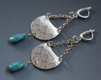 Turquoise Pendulum Textured Dangle Boho Chic Earrings in Sterling Silver