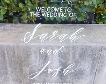 Acrylic Custom Wedding Sign | Welcome Wedding Sign | Wedding Sign | Engagement sign | Personalised Acrylic sign | Modern Wedding Sign