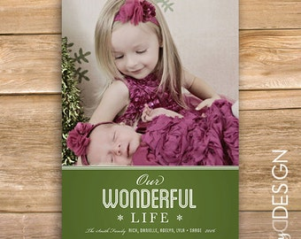 Our Wonderful Life Christmas Card, Personalized Photo Holiday Card, Photo Christmas Card, kids card, snowflakes, printable, instant download