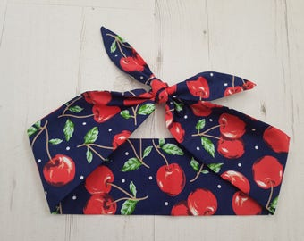 1950s Vintage Blue Cherry And Polka Dot Head Scarf - Burlesque Hair Tie Cherries