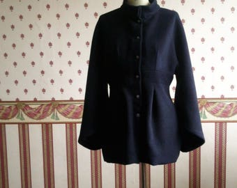 Navy blue wool kimono sleeves jacket.