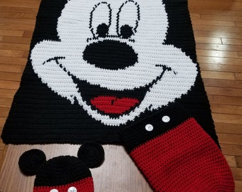 Mickey Mouse Blanket, Hat, and Bunting