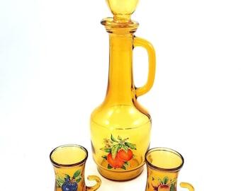 Vintage Amber Glass Juice Decanter Carafe 2 Drinking Glasses Fruit Motif Orange