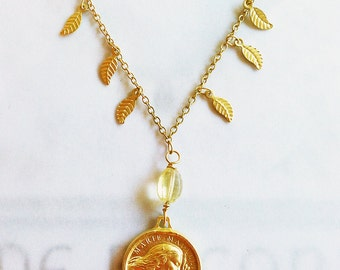 Magdalene necklace etsy necklace saint mary magdalene citrine leaf necklace 18k gold vermeil mozeypictures Gallery
