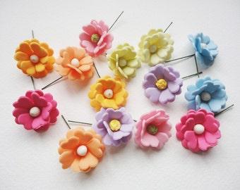 SPRING FLOWER, flower with wire, stem flower, handmade flower, clay flower, porcelain flower, flower cabochon,  pastel flower, flower supply