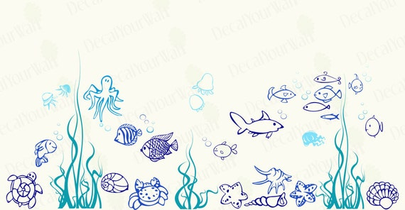 Fish Wall Decal Art Decor Nursery Under The Sea Ocean Underwater Kids Boys  Girls Room Bathroom Removable Vinyl Stickers Home Decor Murals
