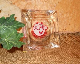 REDDY KILOWATT Glass Ashtray, Desk Caddie, Trinket Tray, Vintage, Collectible, Gift
