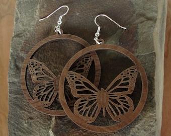 Monarch Butterfly Sustainable Wooden Hook Earrings - Butterflies in Walnut Wood Dangle Earrings - large