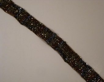 Copper and Gunmetal Beaded Trim in Deco Design--One Yard