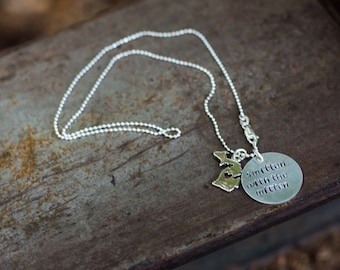 Hand stamped silver necklace with michigan charm - smitten with the mitten - michigan state necklace - hand stamped state jewelry