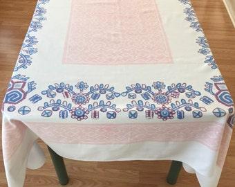 Retro Cotton Tablecloth/ Startex Tablecloth/ Vintage Rectangular Printed Cotton Retro Tablecloth/ Vintage Table Linens/ Tablecloths