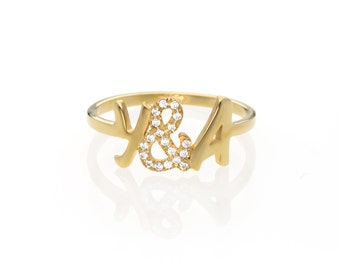 Diamond Initial Ring, Personalized Diamond Ring, Letter Ring, Gold Initial Ring, Custom Ring, Initial Ring Gold, Diamond Name Ring
