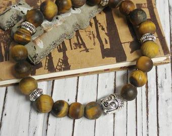 Frosted Tiger Eye Stone Bracelet, Meditation, Stackable, Stretch Bracelet, Boho, Natural Stone, Buddha Charm