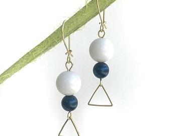 Vintage white & blue beads with raw brass triangle