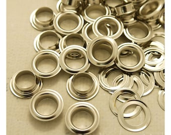 Metal Eyelets Grommets With Washers, 10mm Barrel Diameter, Silver Plated Metal, Pack of 100 sets. (GW042-24S)
