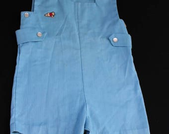 """Vintage 1970's Era Toddler Boys Size 2 Sears Winnie the Pooh """"Pooh Collection"""" Blue Romper"""