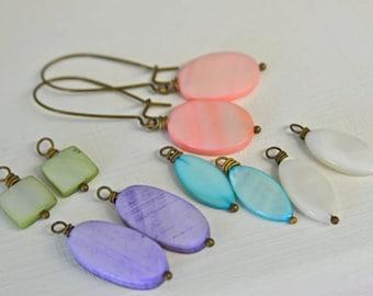 Pearl Earring SET Pastel Earrings Pink Earrings White Earrings Aqua Earrings Purple Earrings Green Earrings FIVE pair of pearls included