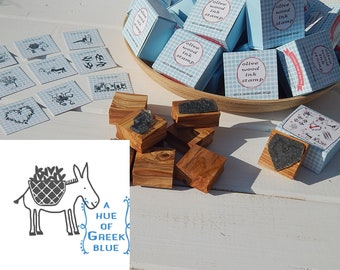 Greece Inspired Olive Wood Stamp in Box - Greek Donkey
