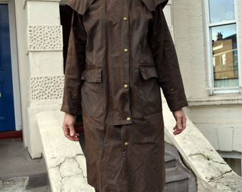 Brown Waxed Cotton Oilskin Duster or Trench-coat