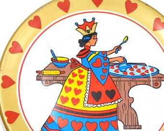 60's Tin Toy Tea plate, Queen of Hearts Storybook graphics.