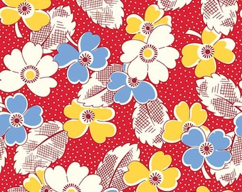 Half Yard Fabric-Washington Street Studio-Feedsack-Red Yellow Blue Floral-30s Reproduction