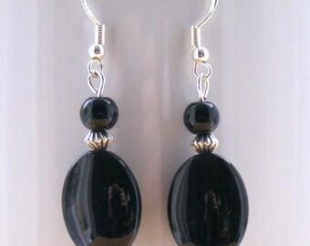 Black Agate Gemstone Drop Earrings with Sterling Silver Hooks New LB9