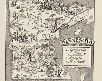 50's Vintage MINNESOTA Picture Map Pictorial State Map Print Black and White Gallery Wall Art Gift for Wedding Birthday Traveler Collector