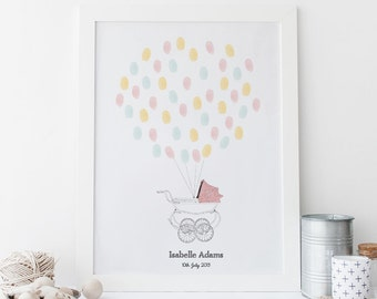 New Baby Fingerprint Art - Vintage Pram (Baby Girl) PRINTABLE *DIGITAL FILE*