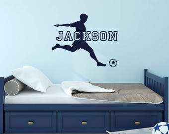 Personalized Name Soccer Wall Decal - Football Name Decal Sports Boys Room Decor - Kids Soccer Decal - Custom Name Decal Soccer Decor M082