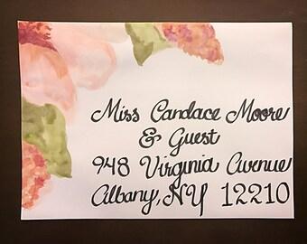 Handmade Watercolor Envelope Invitation Addressing