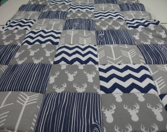 Gray Deer Head and Arrows with Navy Wood Grain and Chevron  3 Piece Baby Crib Bedding Set MADE TO ORDER