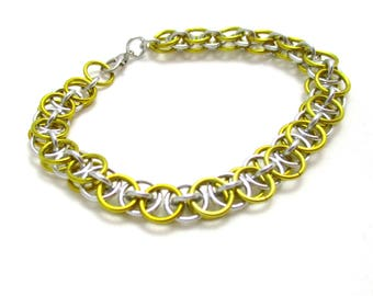 Yellow Chain Maille Bracelet - Yellow Helm Chainmaille Bracelet - Chain Bracelet