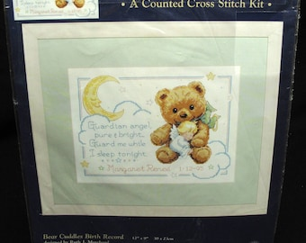 Childrens Guardian Angel Bear Counted Cross Stitch Kit New Unopened 1999 Creative Accents Baby Birth Record Nursery Wall Decor
