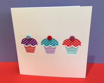 Birthday Card - Cupcakes Birthday Card made with Ribbon and Buttons - Paper Cut Handmade Greeting Card - Etsy UK