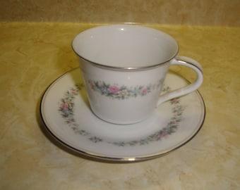 vintage teacup saucer set bone china noritake cynthia floral