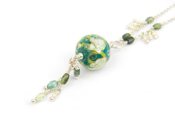 Art Glass Long Necklace - Rainforest Art Glass Bead Sterling Silver Long Necklace - Glamour Collection