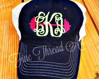 LADIES Barbell Monogram Mesh Back Baseball Cap Hat Mom Crossfit Fitness WOD Working Out Bride Bachelorette Beach Trucker Gym Weight Training