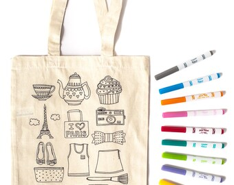 Paris Tote Bag - Eiffel Tower - Kids Color Tote Bag Kit - Tween Girls Craft Project - Girls Design Activity - Fashion Design - BFF gift