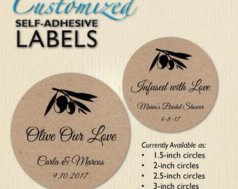 Brown Kraft Olive Labels, Wedding Sticker, Bridal Shower Thank You, Olive Our Love, Infused with Love, Grazie, Party Favor, Personalized