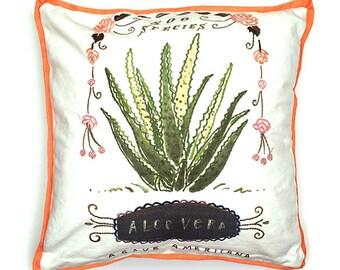 Aloe Vera Cactus Pillow, Cactus Pillow, Cactus Home Decor, Aloe Vera Illustration, Aloe Vera Throw Pillow