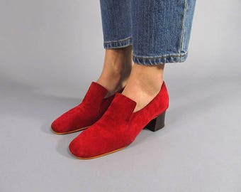 Vintage Suede Loafers / Vintage 60s Shoes / Mod Shoes Δ size 6.5