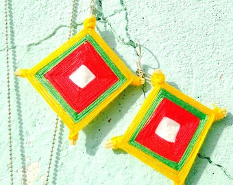 Earrings, THANON PHETCHABURI -- wood and cotton, colorful by The Sausage