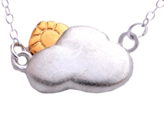 You Are My Sunshine Cloud and Sun Pendant Necklace in Sterling Silver 16'' - 18'' n14