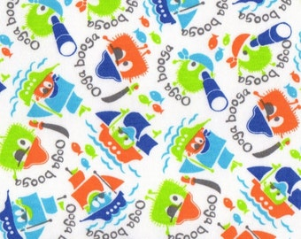 Pirate Ooga Booga, Cotton Interlock Knit Fabric, Remnant 22+ inches