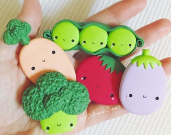 Broccoli Carrot Eggplant Tomato Vegetable Vegetables Magnet ~ Magnet Peas Cute Fimo Polymer Clay Magnet Handmade Food Veggies Veggy Kawai