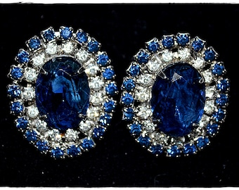 Vintage Huge Oval Sapphire and Clear Rhinestone Clip Earrings